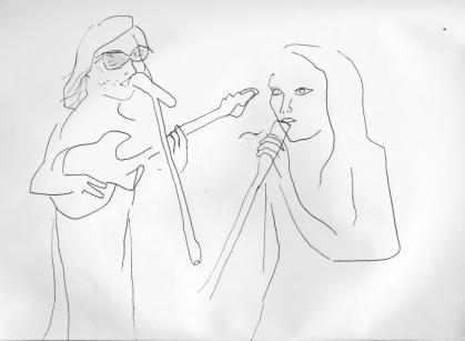 Aaron Rux y Lorena Iglesias. Dibujo al natural de Teresa Irisarri